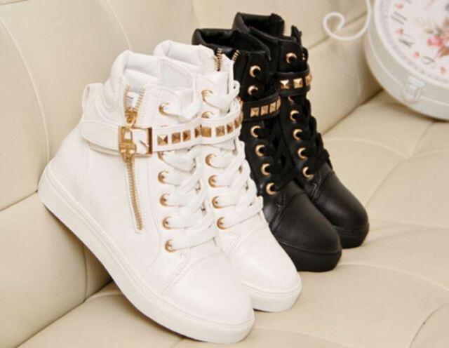 Womens Lace Up Chic Zip Skull Rivet Ladies Flat High Top Running Sneakers Shoes