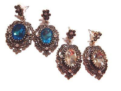 iMETACLII Victoriano Nost/álgico Cristal Cluster L/ágrima Floral Chandelier Statement Colgante Collar Pendientes Set