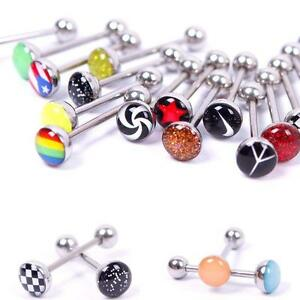 Lots-of-30-Metal-Piercing-Tongue-Rings-Steel-Bar-Barbells-Funny-Wording-Logo-JB