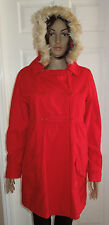 Billabong Red Coat Jacket Removable Fur Hood Peacoat Women's Size Large