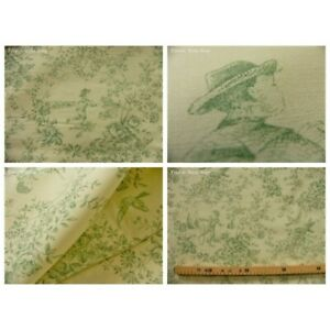 Coupon fabric toile de jouy le parc monceau (green)