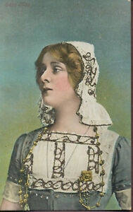 Edna-May-Actress-POSTCARD-with-GLITTER-Peasant-Woman-Costume-1900s