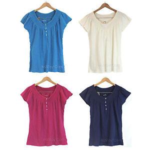 Nwt Eddie Bauer Peasant Blouse Top Short Sleeve Shirt 100 Soft