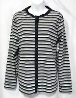 Marsh Landing Size L Stripe Knit Button Front Long Sleeve Top