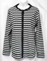 Marsh Landing Size L Stripe Knit Button Front Long Sleeve Top