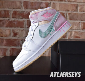 Details about Nike Air Jordan 1 Mid SE GS Paint Drip DD1666-100 Size 3.5Y-7Y