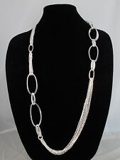 Robert Lee Morris Silver Plated Large Oval Link Multi Chain Station Necklace $75