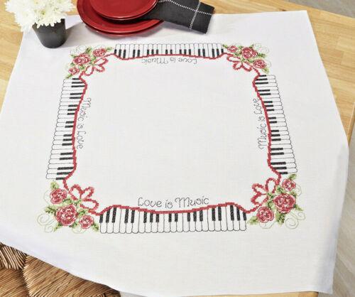 Stickpackung Decke 80x80 cm Klavier Musik Music KREUZSTICH Sticken