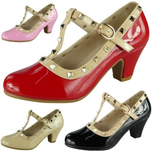 Kids Studded Boots  Girls Childrens T-Bar Buckle Strap Heeled Shiny Party Shoes