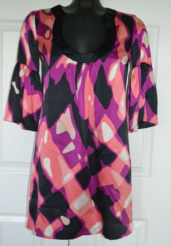 Trina Turk Mehrfarbig Bedruckt Seidenhemd Tunika Kleid Sz 0 Hergestellt in USA