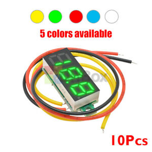 10-PCS-Mini-DC-0-100V-0-28-034-3-Digital-Voltmeter-LED-Voltage-Panel-Meter-3-Wires