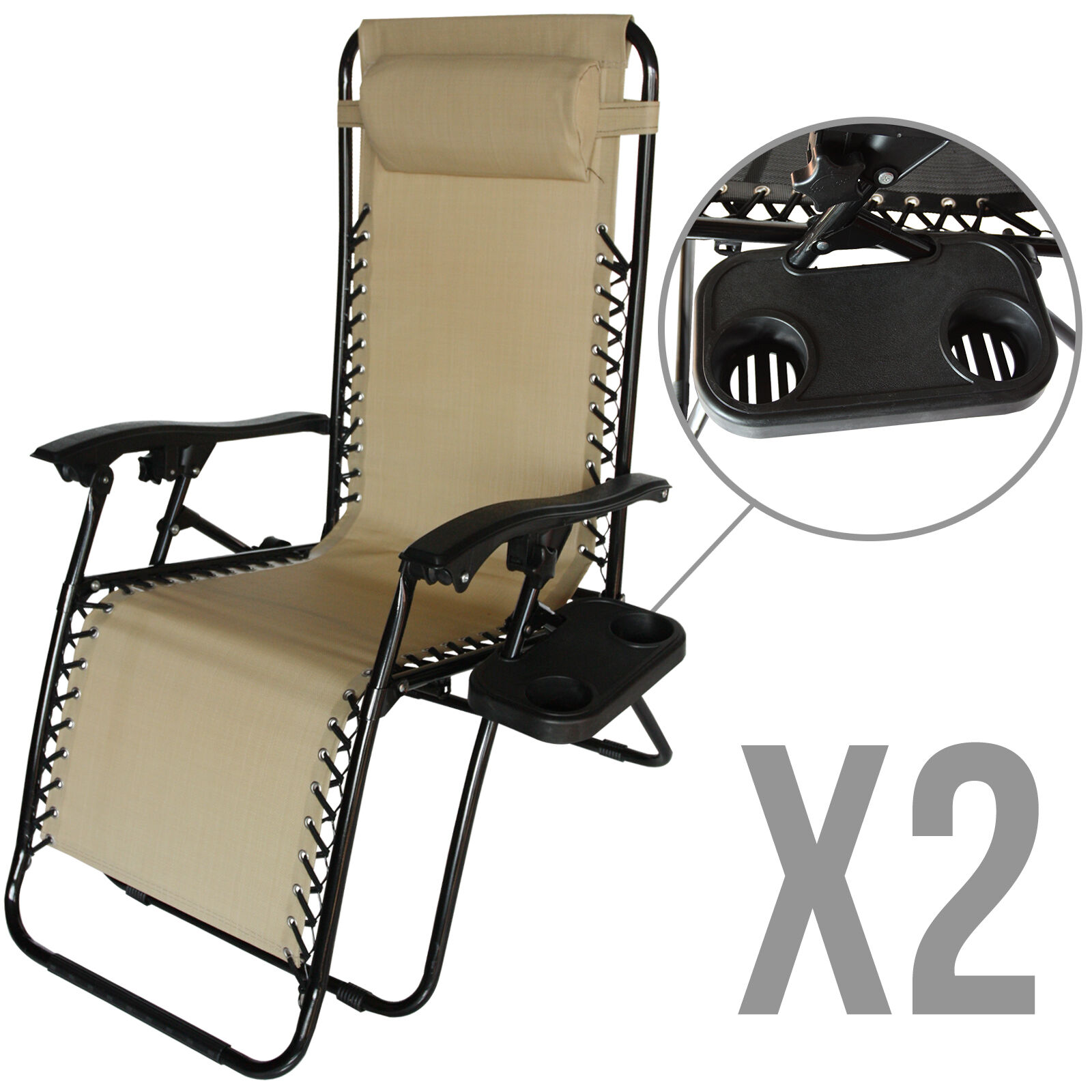 2 Zero Gravity Folding Lounge Beach Chairs Utility Tray Outdoor Recliner in T