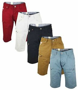 New-Crosshatch-Mens-Cargo-Combat-Denim-Chino-Summer-Casual-100-Cotton-Shorts