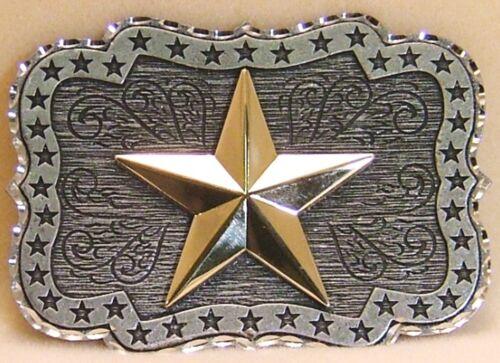 Belt Buckle Gold Star over Pewter Laser Cut Edges Rectangle Shape