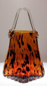Handblown Murano Style Confetti Amber Ribbed Glass Purse Vase - -LEOPARD LOOK