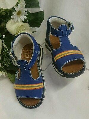 BABY Jungen Kinder Schuhe SANDALEN MADE IN ITALY Gr. 20 Blau Streifen LEDER Neu