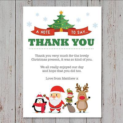 10 Personalised Childrens Christmas Thank You Cards Letters Cute Santa Rudolph Ebay