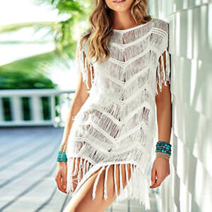 Sexy-Women-Bikini-Cover-Up-Lace-Crochet-Summer-Beach-Dress-Tassel-Swimwear-White