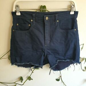 Nobody-Dark-Blue-Wash-Siren-Denim-Shorts-29-Super-High-Rise-Short-Length-Frayed