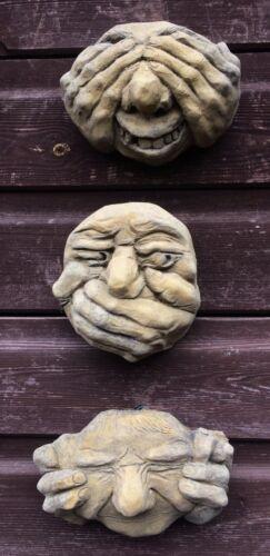 """Brutte FACCE Gargoyle placche muro di pietra Set 3 vedere sentire parlare No Evil 12cm//5/"""" H"""