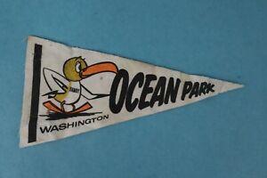 VINTAGE-1960-039-s-SOUVENIR-OCEAN-PARK-SMALL-FELT-PENNANT-LONG-BEACH-WASHINGTON