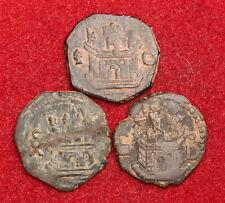 1598, Spain, Philip Ii. Bronze Blanca (Cornado) Coins. Cuenca/Segovia. 3pcs!