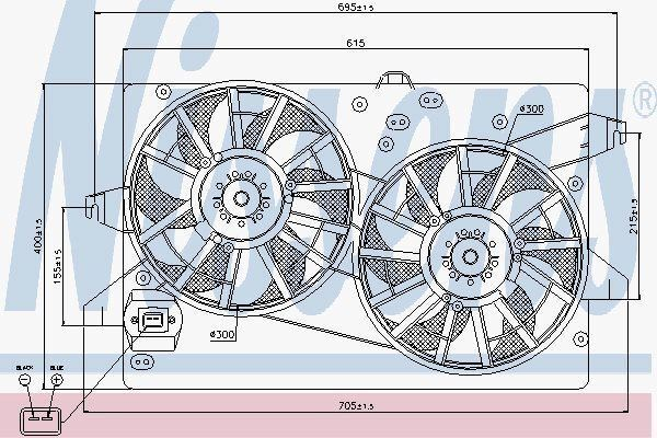 Nissens 85228 Ventilador Del Radiador Compatible con D Mondeo Aut 00- 2XØ285