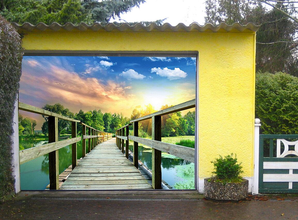 3D Sunset Glow Bridge 5 Garage Door Murals Wall Print Wall AJ WALLPAPER UK Lemon