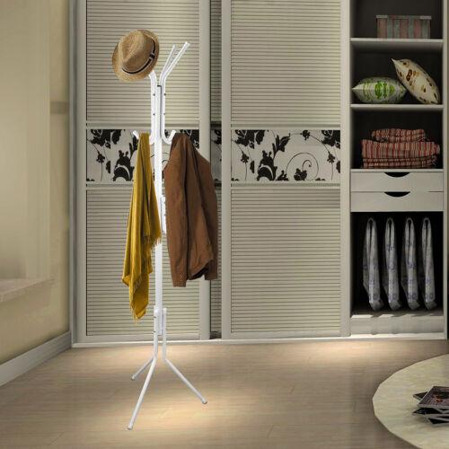 """67/"""" Metal Coat Rack Free Standing Tree Hat Umbrella Holder Hanger Hooks White US"""