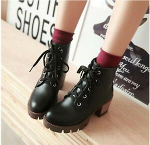 Womens-PU-Leather-Lace-Up-Platform-Round-Toe-Block-Heel-Shoes-Ankle-Boots-Black