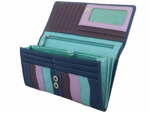 NEW Women's wallets leather flat Clutch PURSE with 14 card slots in Multicolour#