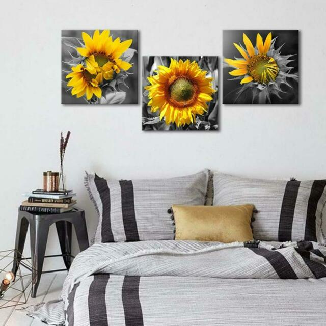 Wall Art Canvas Sunflower 3 Piece Bedroom Home Decor Rustic 12x12 Floral New