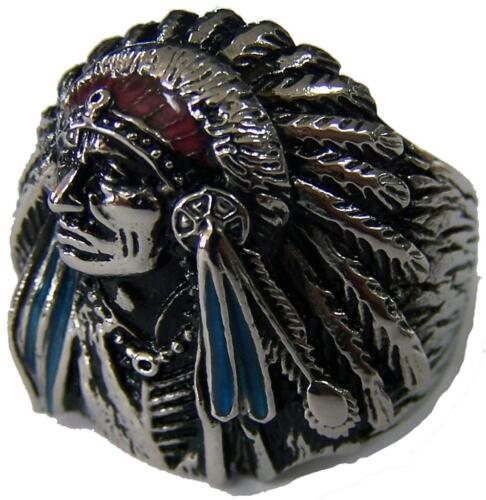 NATIVE INDIAN CHEIF W BONNET STAINLESS STEEL RING size 7 silver metal S-513 NEW