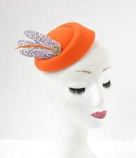 Orange Grey Leopard Print Feather Pillbox Hat Fascinator Rockabilly 1950s 2382