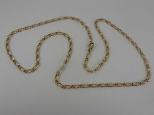 9ct-YELLOW-GOLD-FANCY-LINK-NECK-CHAIN-NECKLACE-22-034-VERY-UNUSUAL-FANCY-CHAIN