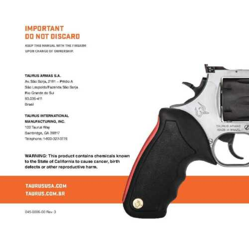 Many Models Covered Taurus Raging Hunter Instruction Owner/'s Manual Copy