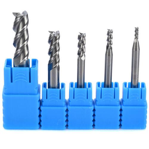 5pcs 3 Flute HRC50 Solid Tungsten Carbide End Mill Cutter 2-8mm CNC Aluminum