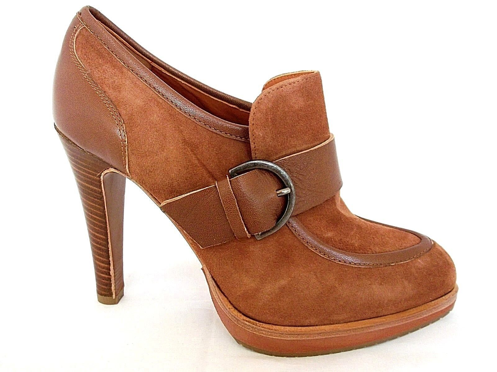 THE SELLER LADIES CAMOSCIO COGNAC SUEDE LEATHER HEELS schuhe damen UK 7 - EUR 40