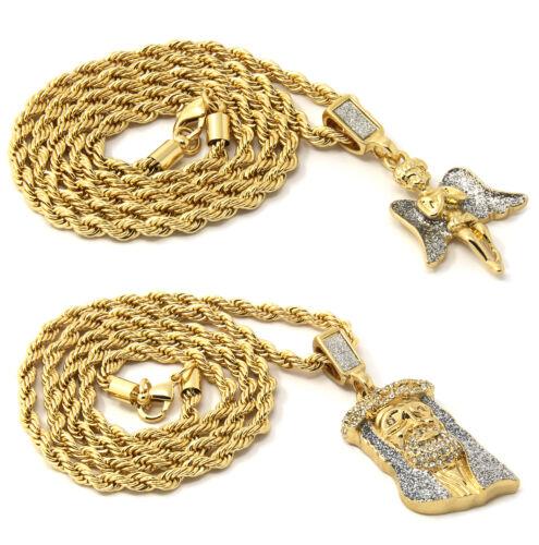"Mens Gold Two Piece Prayer Angel /& Jesus Set Pendant Hip Hop 30/"" Rope Chain D864"