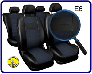 Car-seat-covers-fit-Nissan-Murano-full-set-black-blue-leatherette-polyester
