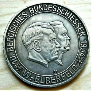 WW2-GERMAN-COMMEMORATIVE-COLLECTORS-COIN-HITLER-AND-HINDENBURG-ELBERFELD-1934