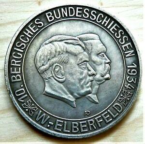 WW2-GERMAN-COMMEMORATIVE-COLLECTORS-COIN-HITLER-AND-HINDENBURG-ELBERFELD-1934