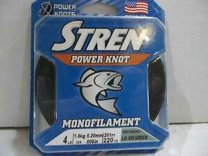 Stren Power Knot monofilament 4 lb test 220 yards lo vis green NIP FREE SHIPPING