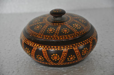 Old Wooden Handcarfted Disc Shape Handpainted Powder Box , Collectible