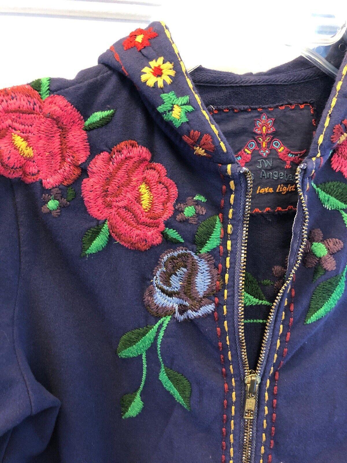 2. JOHNNY WAS LOS ANGELES Blau Embroiderot Zip Hoodie XS