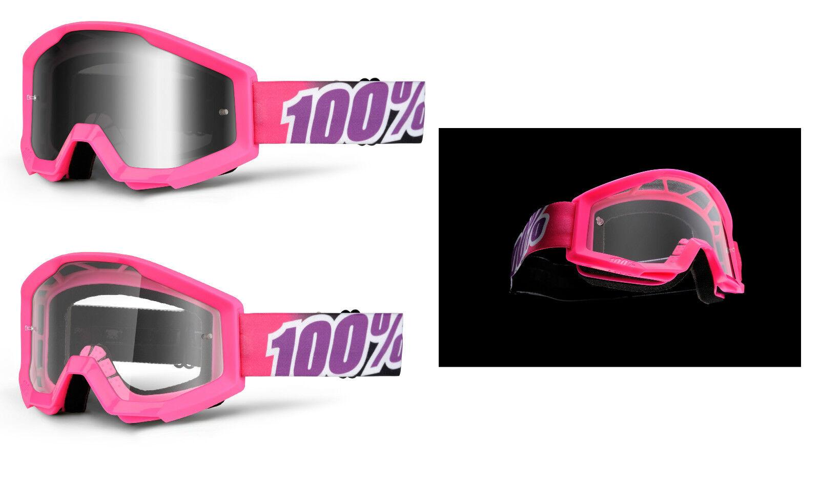 100% STRATA gafas 2016 Bubble Gum silver TIPO ESPEJO TRANSPARENTE MX Motocross