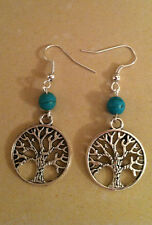 TREE OF LIFE silver circle TURQUOISE earrings SP wires, Celtic Jewish Boho Wicca
