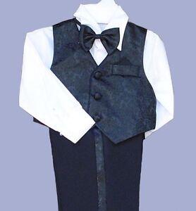 NEW Boys Black Suit Choice 5 Vest Colors Sz 6M Sz 20