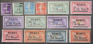 Memel 1922 French Stamps ovptd MEMEL in Italic, compl.set, Mi #84-97 MH