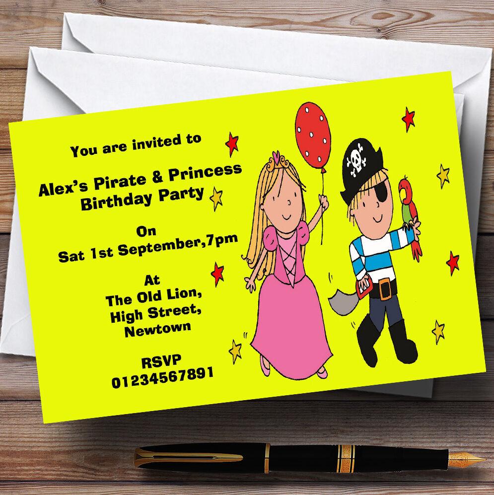 Pirate jaune et princesse thème D'Anniversaire Personnalisé Fête D'Anniversaire thème invitations-th99 73b43b